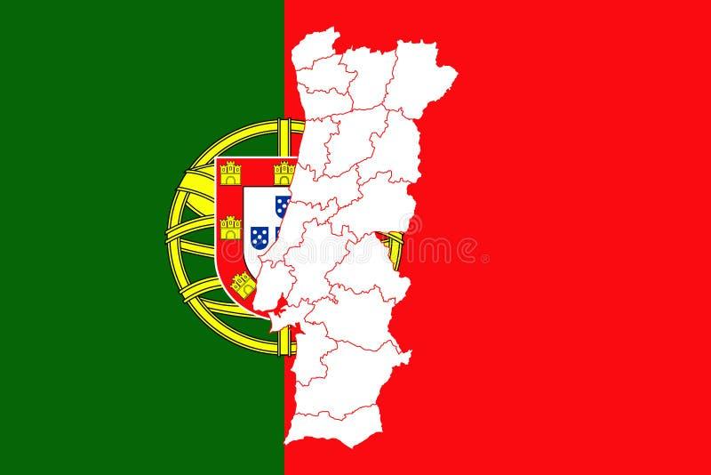 χάρτης Πορτογαλία σημαιών απεικόνιση αποθεμάτων