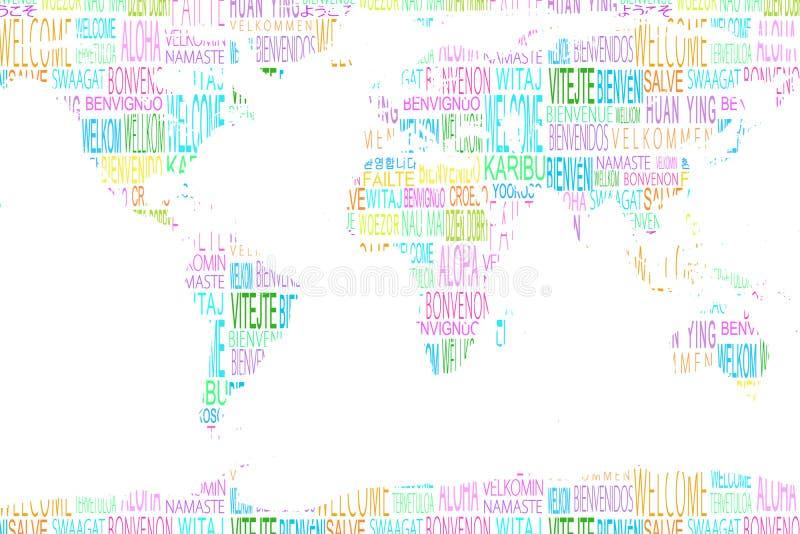 Χάρτης που παρουσιάζει υποδοχή στις διαφορετικές γλώσσες απεικόνιση αποθεμάτων