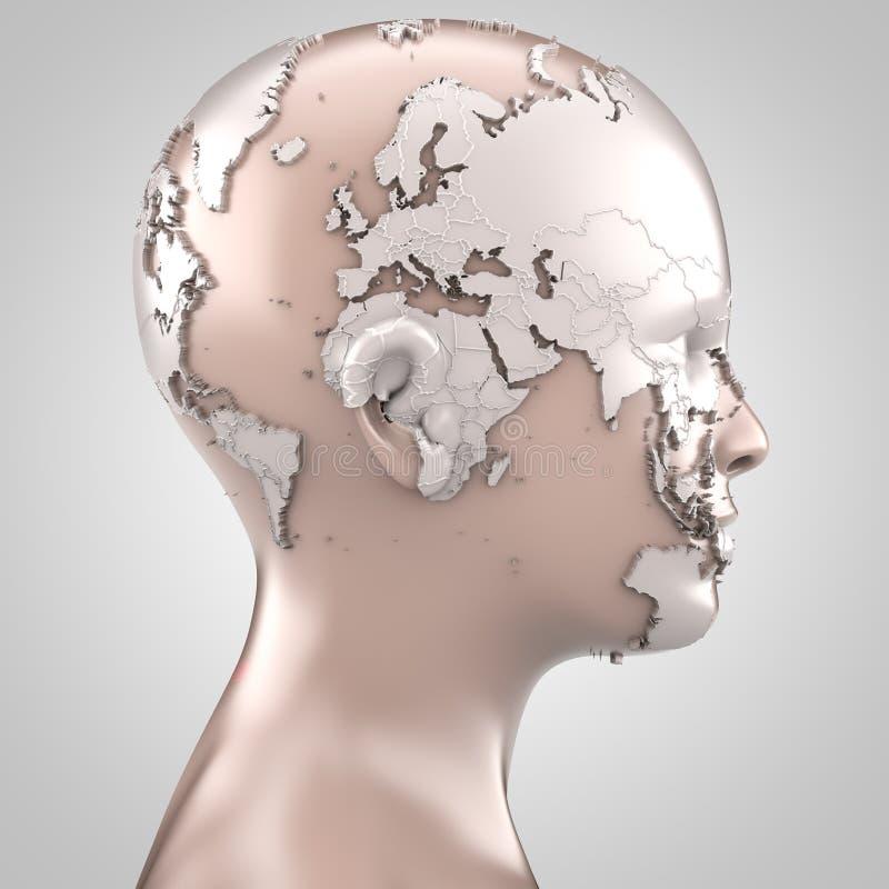 Χάρτης που προβάλλεται παγκόσμιος στο πρόσωπο διανυσματική απεικόνιση