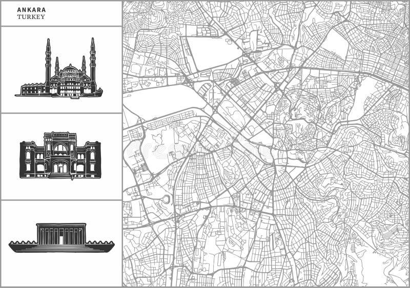 Χάρτης πόλεων της Άγκυρας με τα hand-drawn εικονίδια αρχιτεκτονικής διανυσματική απεικόνιση