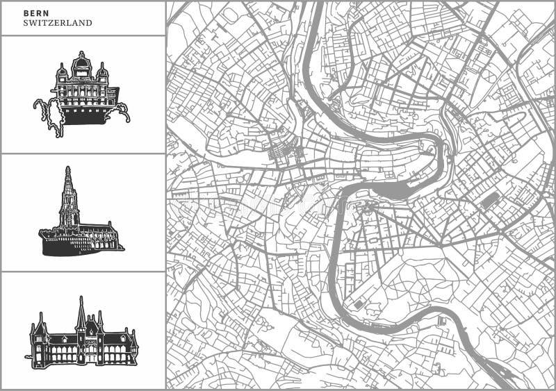 Χάρτης πόλεων της Βέρνης με τα hand-drawn εικονίδια αρχιτεκτονικής ελεύθερη απεικόνιση δικαιώματος