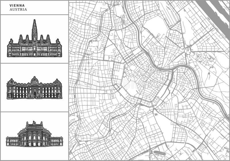 Χάρτης πόλεων της Βιέννης με τα hand-drawn εικονίδια αρχιτεκτονικής διανυσματική απεικόνιση