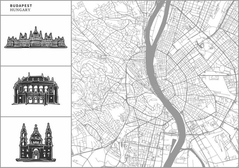 Χάρτης πόλεων της Βουδαπέστης με τα hand-drawn εικονίδια αρχιτεκτονικής διανυσματική απεικόνιση