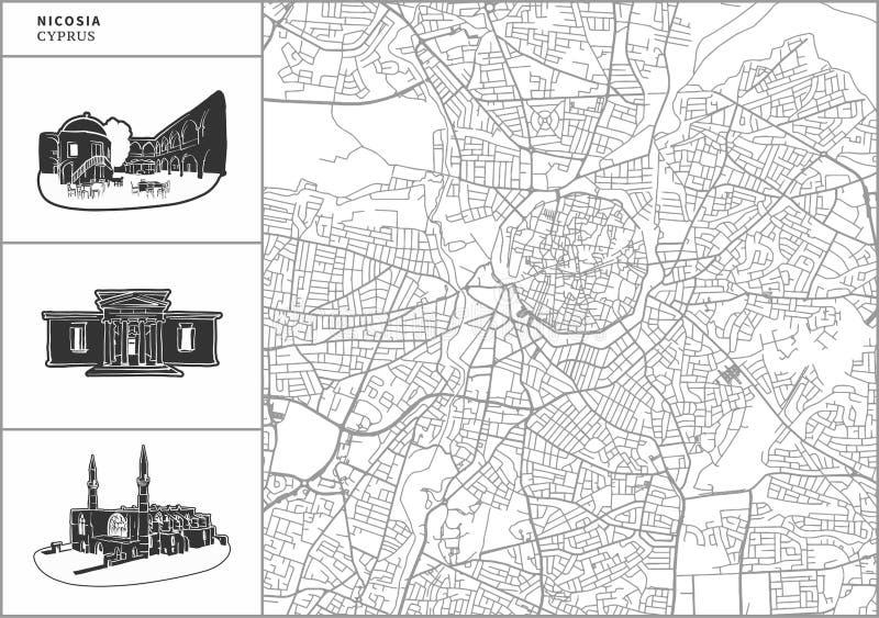 Χάρτης πόλεων της Λευκωσίας με τα hand-drawn εικονίδια αρχιτεκτονικής ελεύθερη απεικόνιση δικαιώματος