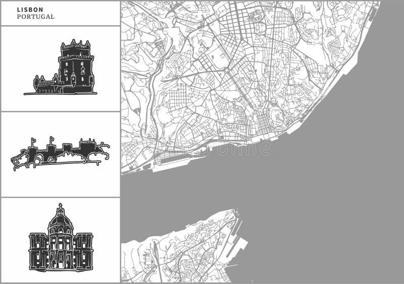 Χάρτης πόλεων της Λισσαβώνας με τα hand-drawn εικονίδια αρχιτεκτονικής ελεύθερη απεικόνιση δικαιώματος
