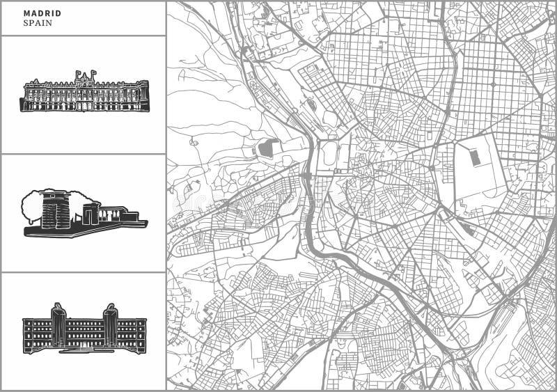 Χάρτης πόλεων της Μαδρίτης με τα hand-drawn εικονίδια αρχιτεκτονικής διανυσματική απεικόνιση