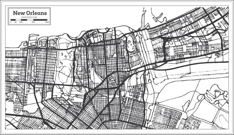 Χάρτης πόλεων της Νέας Ορλεάνης Λουιζιάνα ΗΠΑ στο αναδρομικό ύφος Γραπτή διανυσματική απεικόνιση διανυσματική απεικόνιση