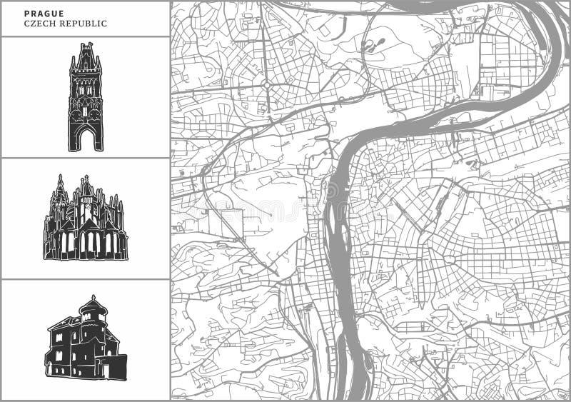 Χάρτης πόλεων της Πράγας με τα hand-drawn εικονίδια αρχιτεκτονικής ελεύθερη απεικόνιση δικαιώματος