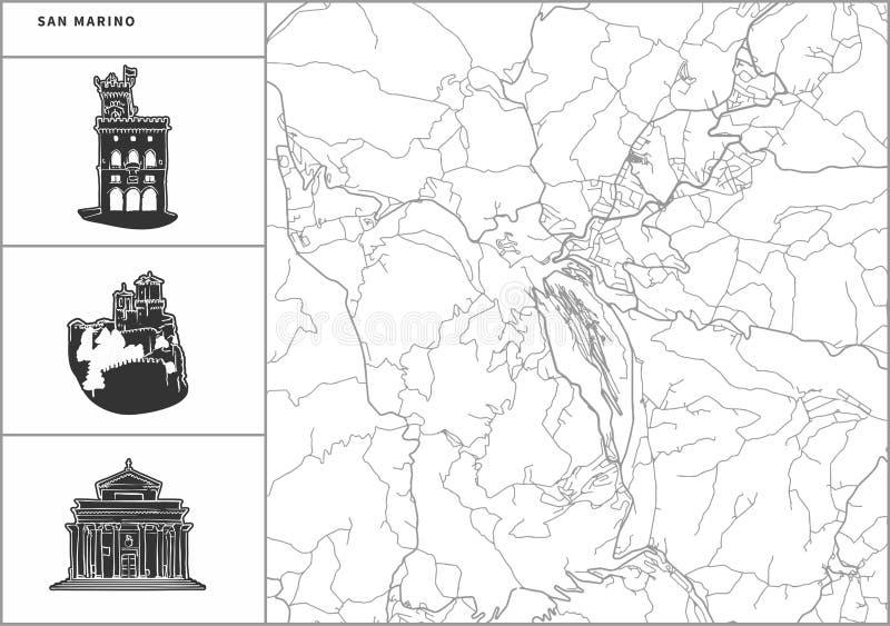 Χάρτης πόλεων του Άγιου Μαρίνου με τα hand-drawn εικονίδια αρχιτεκτονικής ελεύθερη απεικόνιση δικαιώματος