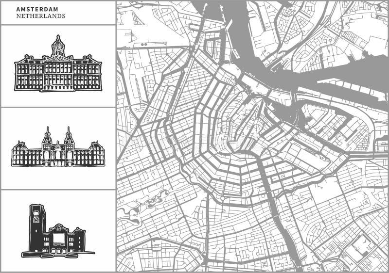Χάρτης πόλεων του Άμστερνταμ με τα hand-drawn εικονίδια αρχιτεκτονικής απεικόνιση αποθεμάτων
