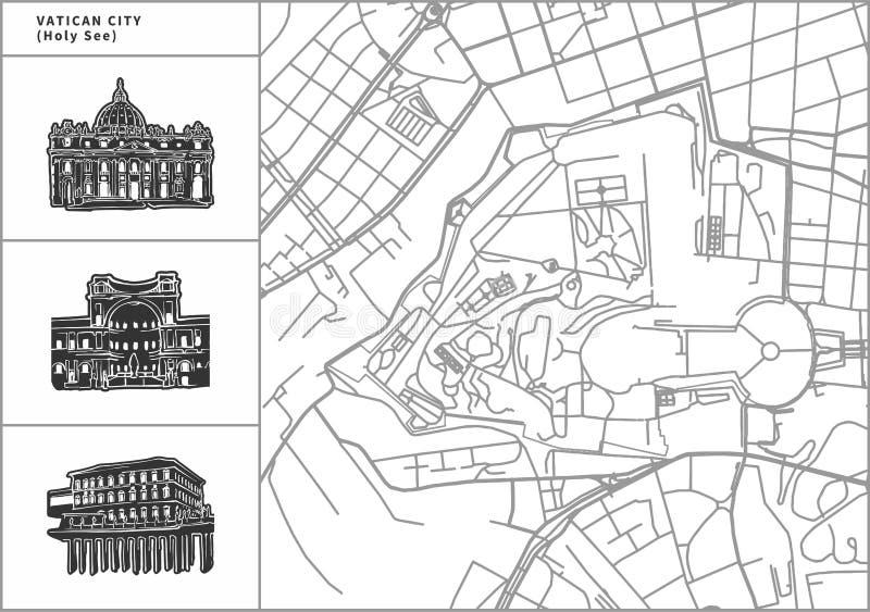 Χάρτης πόλεων του Βατικανού με τα hand-drawn εικονίδια αρχιτεκτονικής διανυσματική απεικόνιση