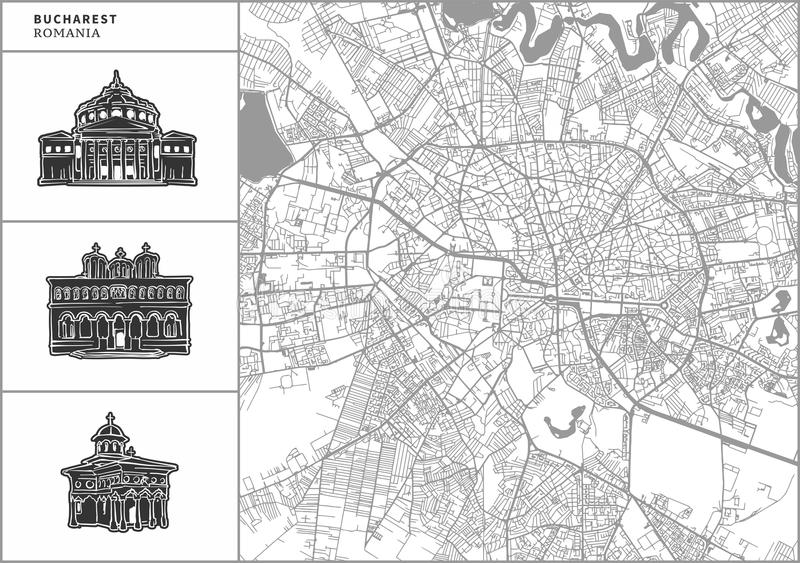 Χάρτης πόλεων του Βουκουρεστι'ου με τα hand-drawn εικονίδια αρχιτεκτονικής απεικόνιση αποθεμάτων