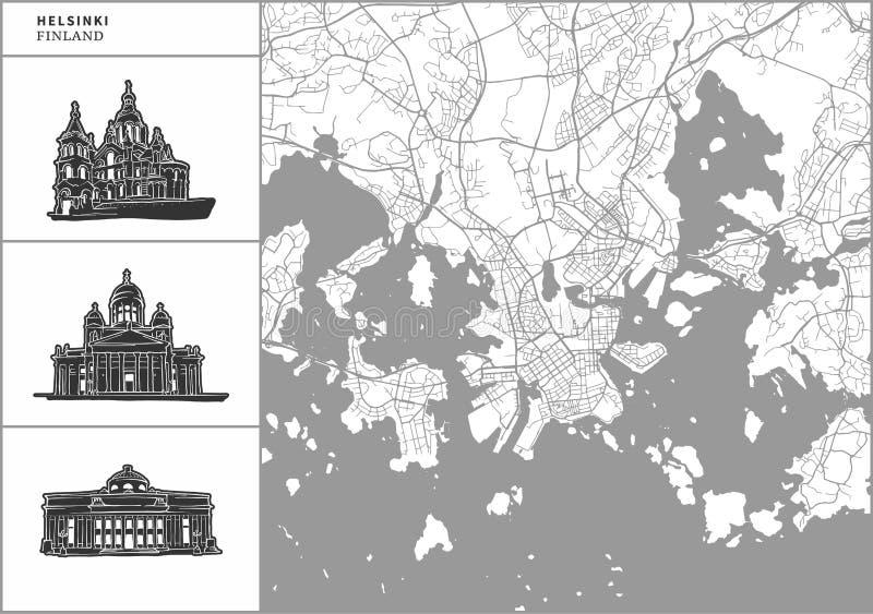 Χάρτης πόλεων του Ελσίνκι με τα hand-drawn εικονίδια αρχιτεκτονικής διανυσματική απεικόνιση