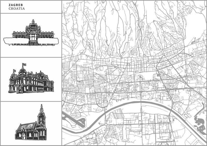 Χάρτης πόλεων του Ζάγκρεμπ με τα hand-drawn εικονίδια αρχιτεκτονικής ελεύθερη απεικόνιση δικαιώματος