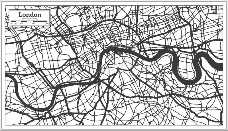 Χάρτης πόλεων του Λονδίνου Αγγλία στο αναδρομικό ύφος στο γραπτό χρώμα Χάρτης περιλήψεων ελεύθερη απεικόνιση δικαιώματος