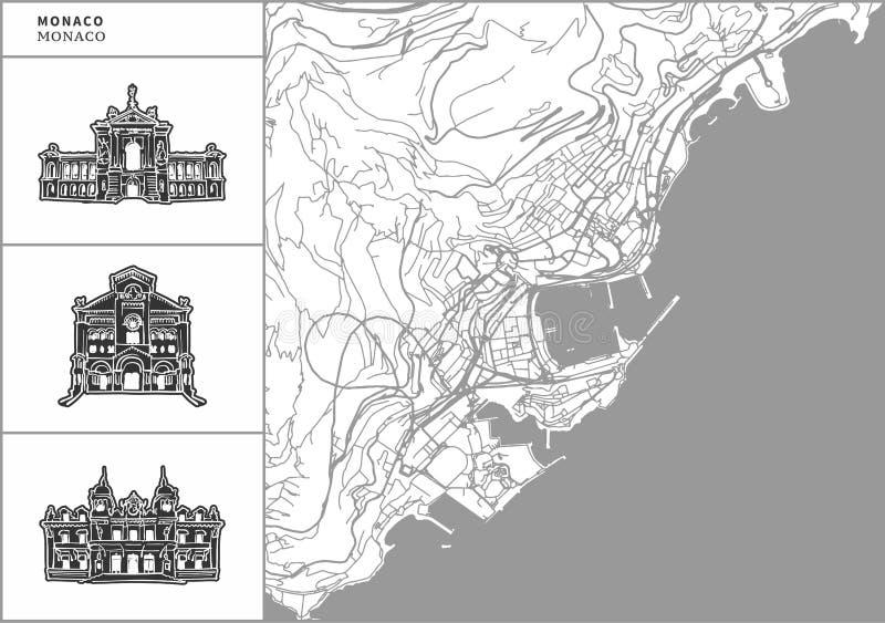 Χάρτης πόλεων του Μονακό με τα hand-drawn εικονίδια αρχιτεκτονικής διανυσματική απεικόνιση