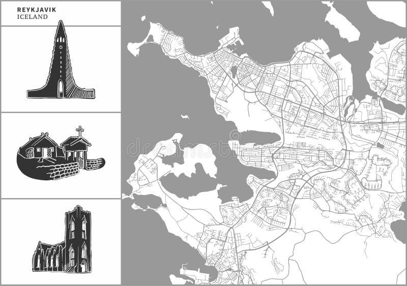 Χάρτης πόλεων του Ρέικιαβικ με τα hand-drawn εικονίδια αρχιτεκτονικής ελεύθερη απεικόνιση δικαιώματος