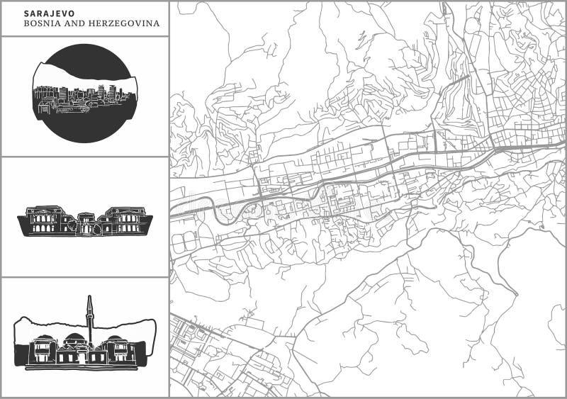 Χάρτης πόλεων του Σαράγεβου με τα hand-drawn εικονίδια αρχιτεκτονικής απεικόνιση αποθεμάτων