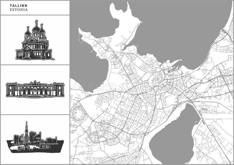 Χάρτης πόλεων του Ταλίν με τα hand-drawn εικονίδια αρχιτεκτονικής απεικόνιση αποθεμάτων