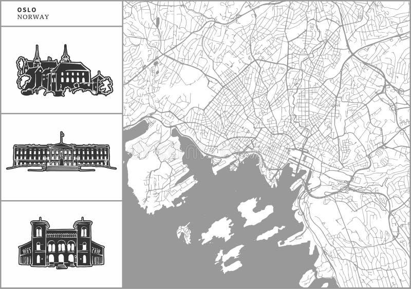 Χάρτης πόλεων του Όσλο με τα hand-drawn εικονίδια αρχιτεκτονικής απεικόνιση αποθεμάτων