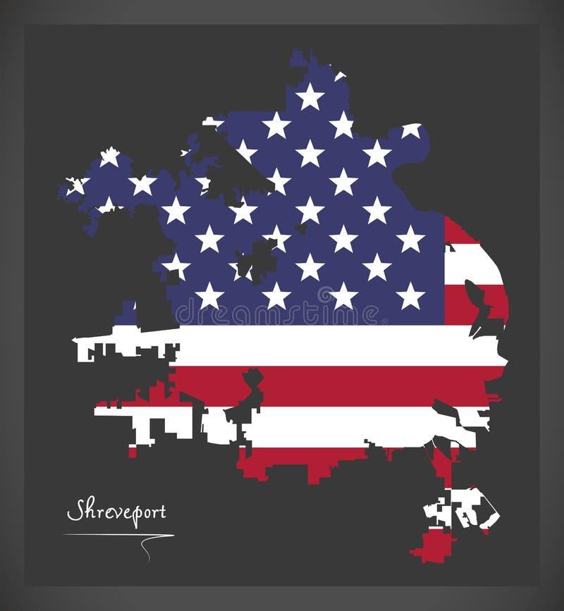 Χάρτης πόλεων του shreveport Λουιζιάνα με την αμερικανική απεικόνιση εθνικών σημαιών ελεύθερη απεικόνιση δικαιώματος