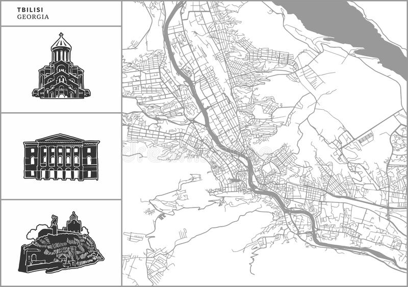 Χάρτης πόλεων του Tbilisi με τα hand-drawn εικονίδια αρχιτεκτονικής απεικόνιση αποθεμάτων