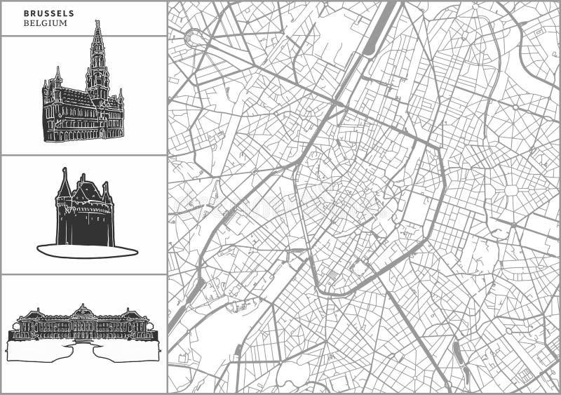 Χάρτης πόλεων των Βρυξελλών με τα hand-drawn εικονίδια αρχιτεκτονικής διανυσματική απεικόνιση
