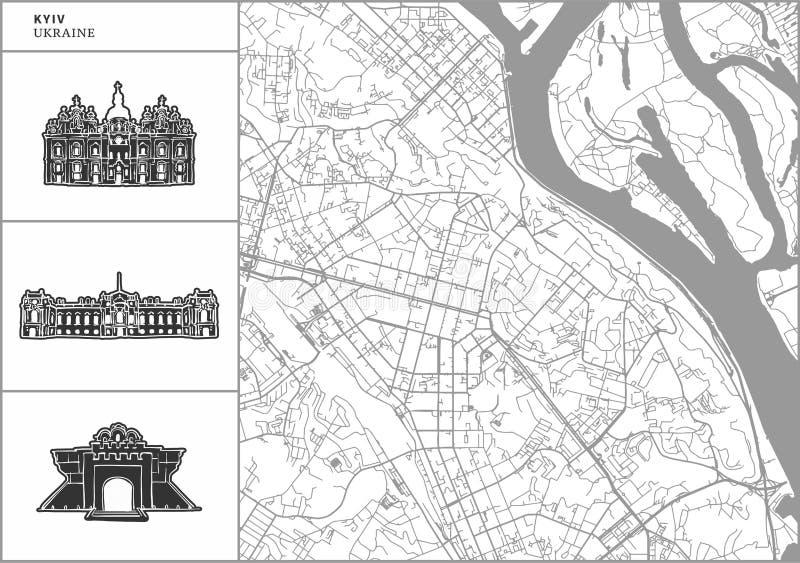Χάρτης πόλεων Kyiv με τα hand-drawn εικονίδια αρχιτεκτονικής απεικόνιση αποθεμάτων