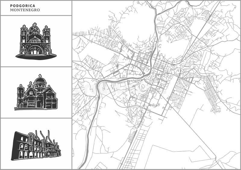 Χάρτης πόλεων Podgorica με τα hand-drawn εικονίδια αρχιτεκτονικής διανυσματική απεικόνιση