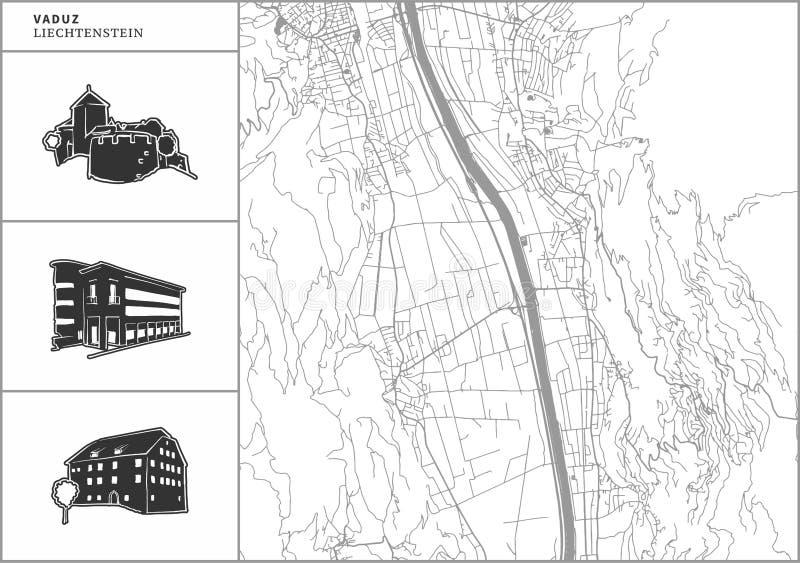 Χάρτης πόλεων Vaduz με τα hand-drawn εικονίδια αρχιτεκτονικής απεικόνιση αποθεμάτων