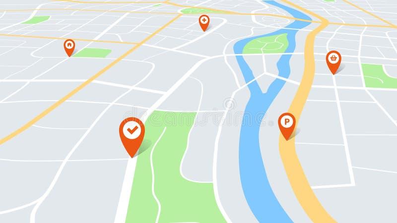 Χάρτης πόλης με καρφίτσες Έγχρωμο σχέδιο πόλης για τη χαρτογραφία σε προοπτική, με κόκκινους δείκτες πλοήγησης στη διαδρομή Αστικ διανυσματική απεικόνιση