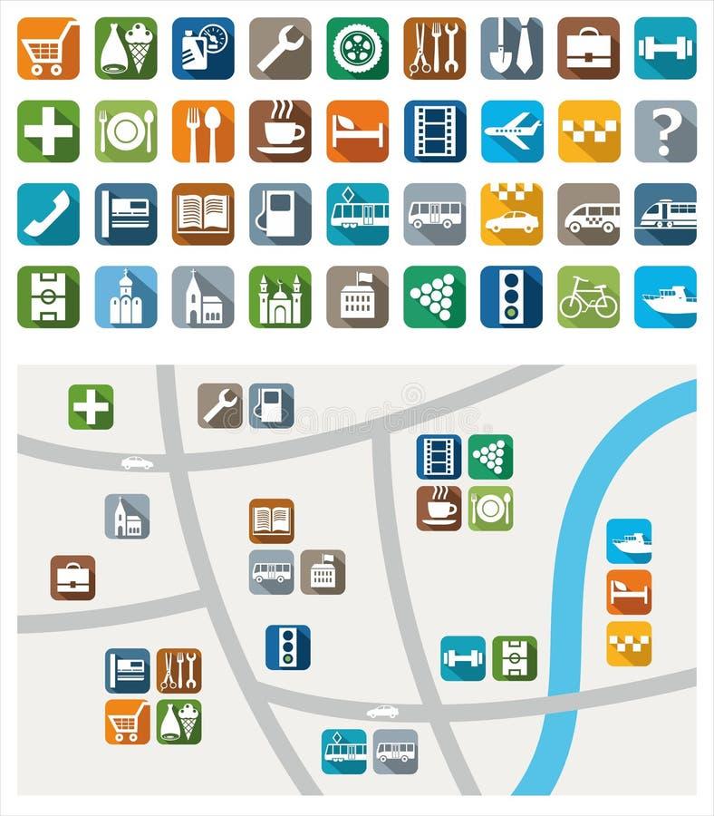 Χάρτης πόλεων, εικονίδια χρώματος, υπηρεσία, αστικές υπηρεσίες ελεύθερη απεικόνιση δικαιώματος