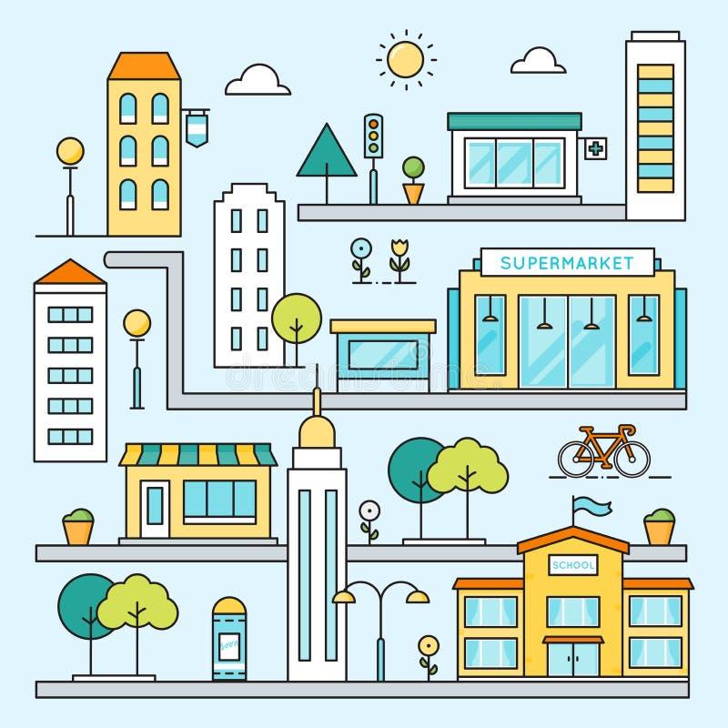 Χάρτης πόλεων με τη διανυσματική έγχρωμη εικονογράφηση περιλήψεων οδών, κτηρίων και θέσεων ελεύθερη απεικόνιση δικαιώματος