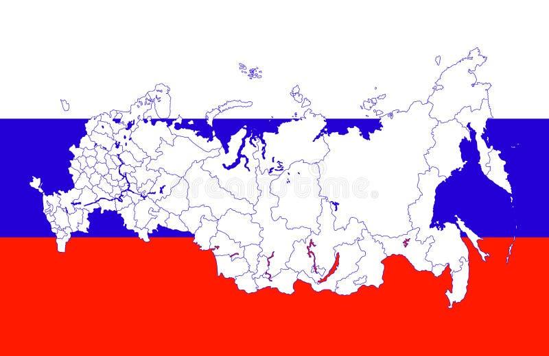 χάρτης Ρωσία σημαιών απεικόνιση αποθεμάτων