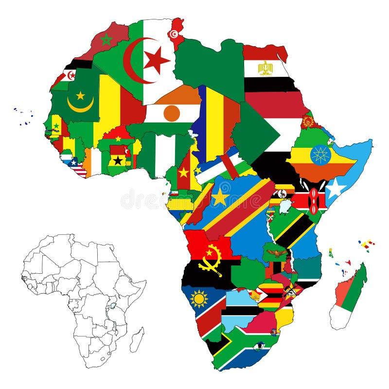 χάρτης σημαιών ηπείρων της Αφρικής διανυσματική απεικόνιση