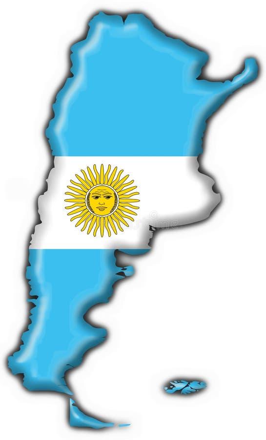 χάρτης σημαιών κουμπιών της Αργεντινής διανυσματική απεικόνιση