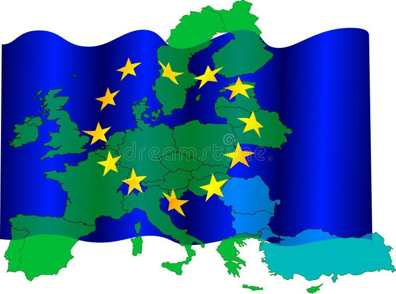 χάρτης σημαιών της ΕΕ διανυσματική απεικόνιση