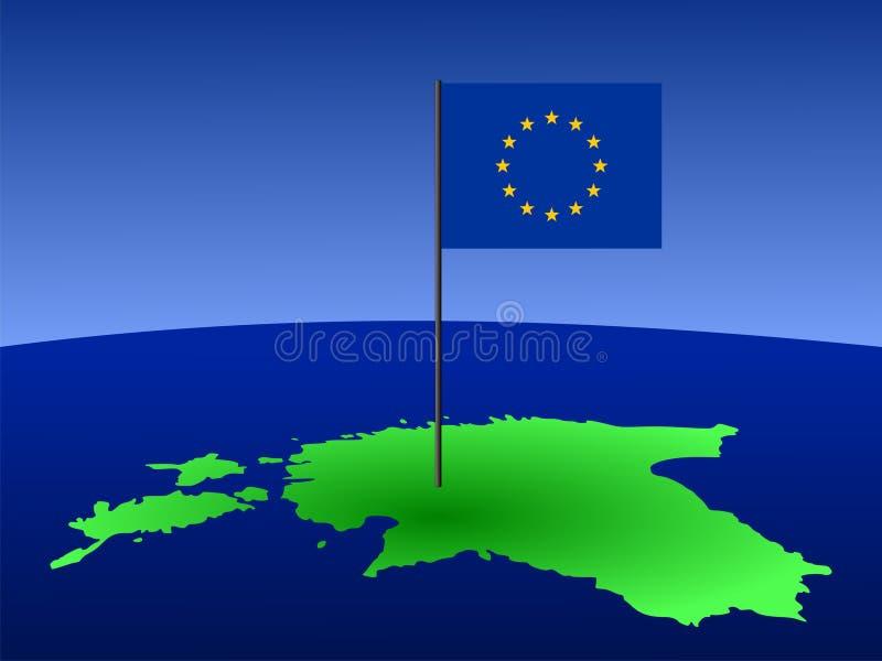 χάρτης σημαιών της Εσθονία&s ελεύθερη απεικόνιση δικαιώματος