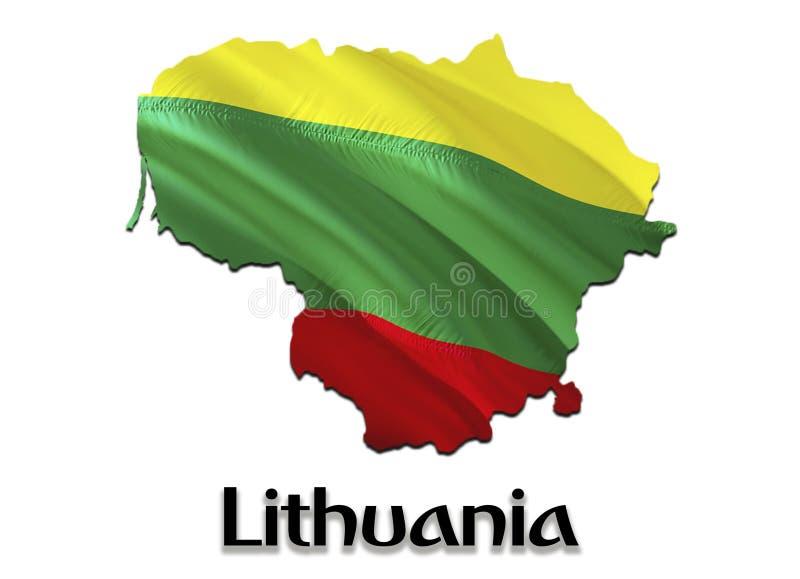 Χάρτης σημαιών της Λιθουανίας τρισδιάστατοι χάρτης και σημαία απόδοσης Λιθουανία Το εθνικό σύμβολο της Λιθουανίας Εθνική κυματίζο ελεύθερη απεικόνιση δικαιώματος