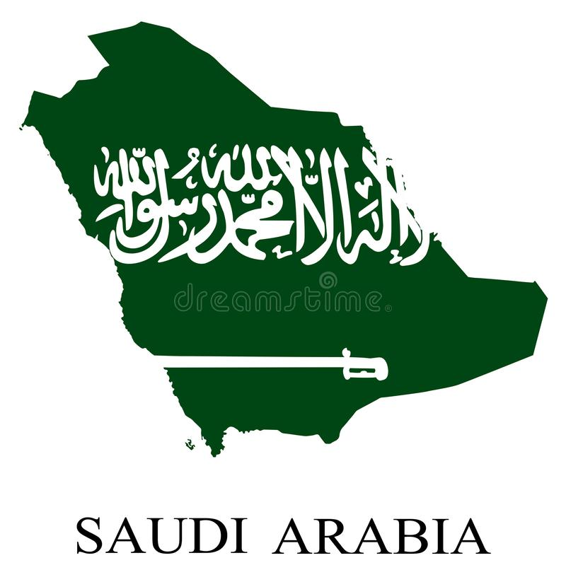 Χάρτης σημαιών της Σαουδικής Αραβίας στοκ εικόνα με δικαίωμα ελεύθερης χρήσης