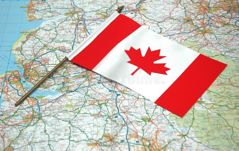 χάρτης σημαιών του Καναδά στοκ φωτογραφία