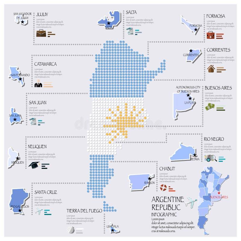 Χάρτης σημείων και σημαιών του σχεδίου της Αργεντινής Infographic διανυσματική απεικόνιση