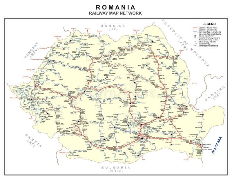 Χάρτης σιδηροδρόμων της Ρουμανίας διανυσματική απεικόνιση