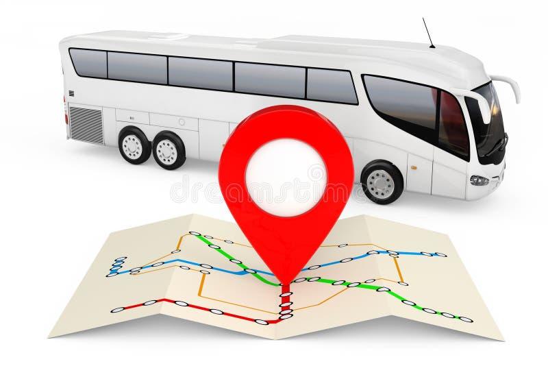Χάρτης στάσεων λεωφορείου με την κόκκινη καρφίτσα σημείου μπροστά από το μεγάλο άσπρο λεωφορείο διανυσματική απεικόνιση