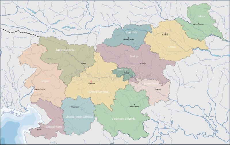 χάρτης Σλοβενία διανυσματική απεικόνιση