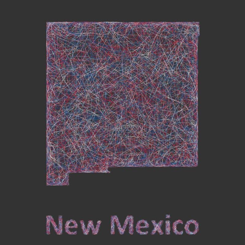 Χάρτης τέχνης γραμμών Νέων Μεξικό διανυσματική απεικόνιση