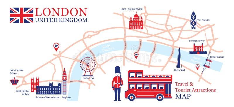 Χάρτης ταξιδιού του Λονδίνου, Αγγλία και τουριστικού αξιοθεάτου ελεύθερη απεικόνιση δικαιώματος