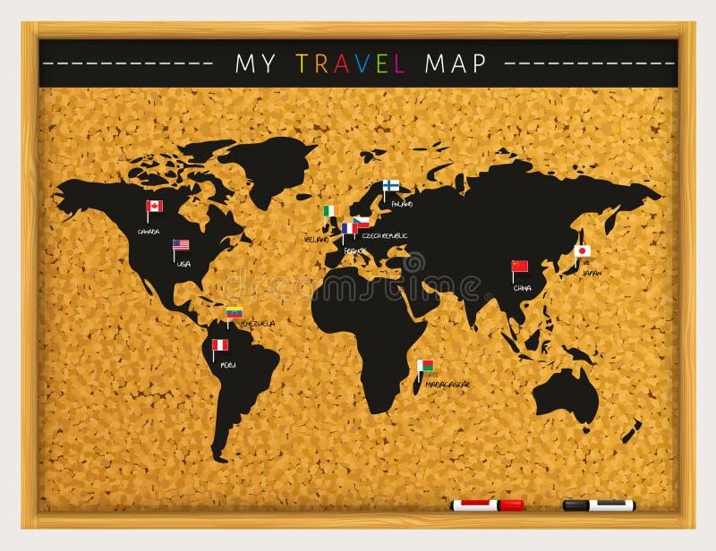 Χάρτης ταξιδιού με τους δείκτες χαρτών σημαιών και τις μάνδρες δεικτών στον πίνακα φελλού διάνυσμα ελεύθερη απεικόνιση δικαιώματος