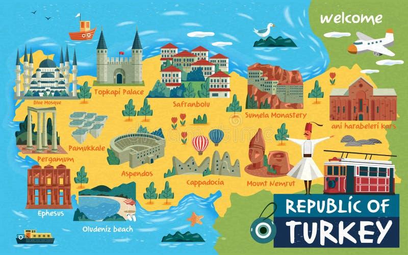 Χάρτης ταξιδιού της Τουρκίας απεικόνιση αποθεμάτων