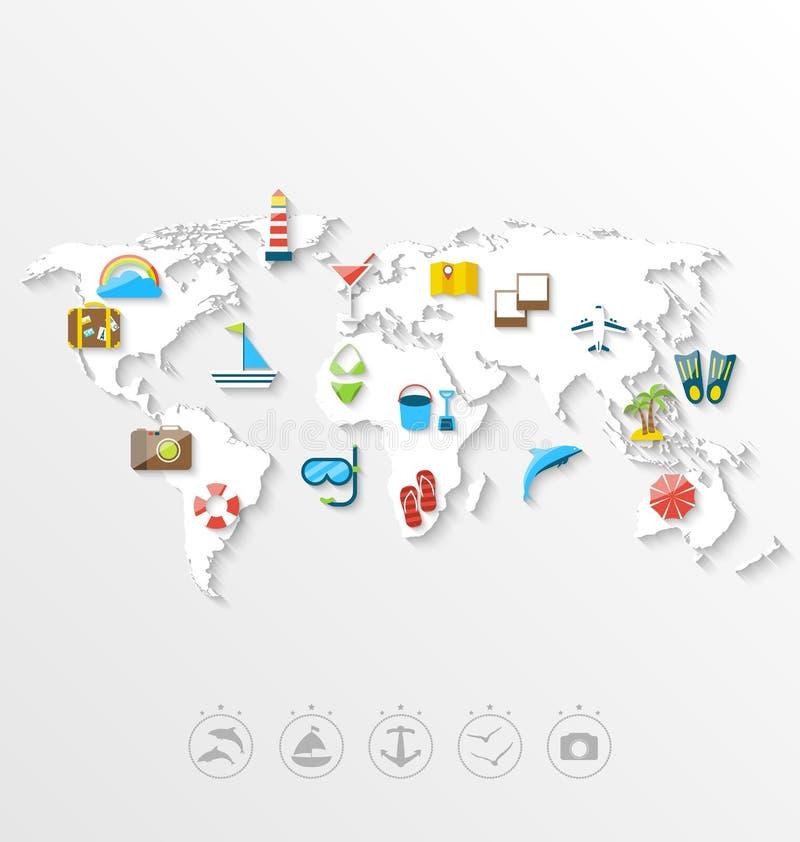 Χάρτης της έννοιας παγκόσμιου ταξιδιού, απλά ζωηρόχρωμα επίπεδα εικονίδια ελεύθερη απεικόνιση δικαιώματος
